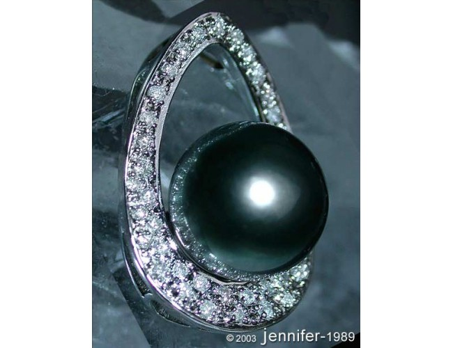 Picture Perfect Tahitian Pearl Pendant with Diamonds (Mikimoto Design)