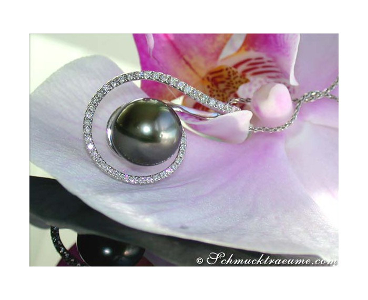 Sophisticated Tahitian Pearl Diamond Pendant