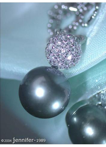 Pretty Tahitian Pearl Pendant with Diamond Pavé Ball