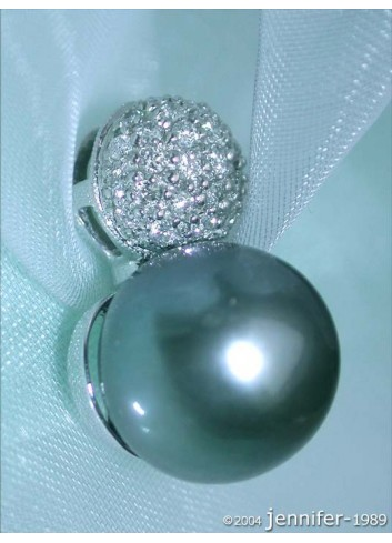 Pretty Tahitian Pearl Pendant with Diamond Pavé Ball