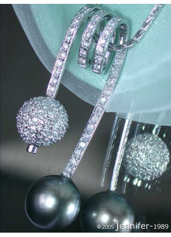 Tahitian Pearl Pendant with Diamond Pave Ball