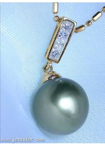 Klassischer Tahitiperle Diamanten Anhänger in Gelbgold 750