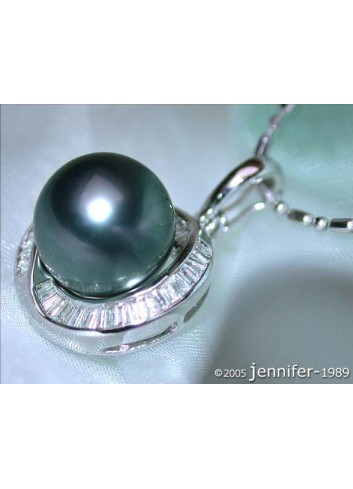 Enchanting Tahitian Pearl Pendant with Taper Diamonds