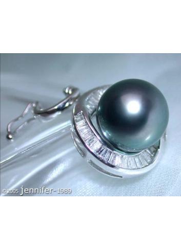Enchanting Tahitian Pearl Pendant with Taper Diamonds