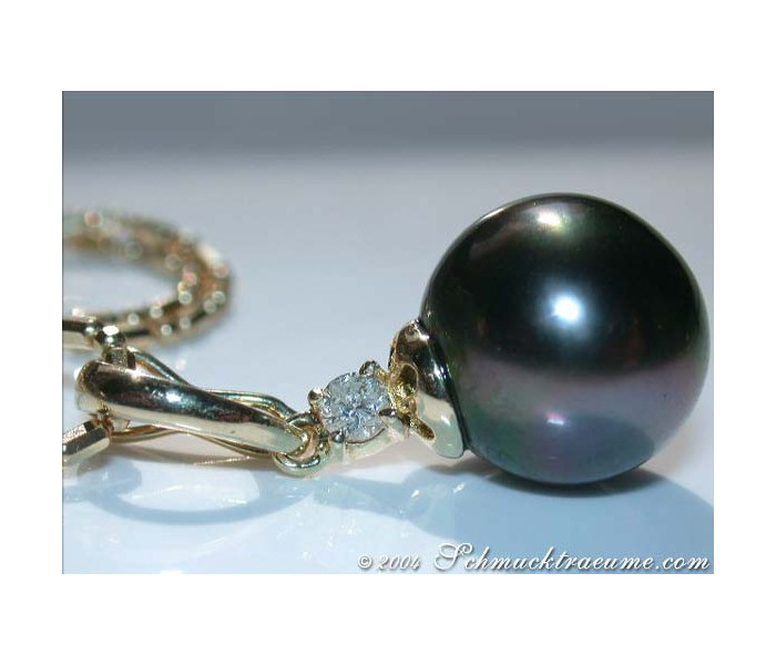 """16/"""" 10mm Black Tahitian Pearl Necklace on 14K White Gold Box Chain"""