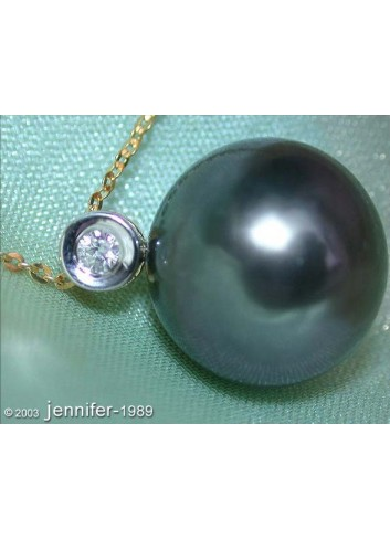Beautiful Tahitian Pearl Diamond Pendant incl. Chain in Yellow Gold