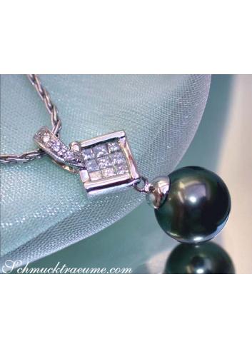 Tahitiperle Anhänger mit Diamanten