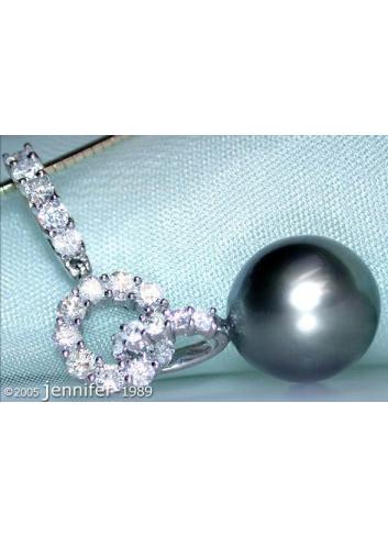 Charming Tahitian Pearl Diamond Pendant