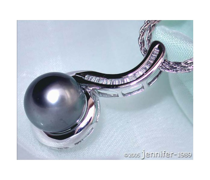 Curved Tahitian Pearl Pendant with Diamonds