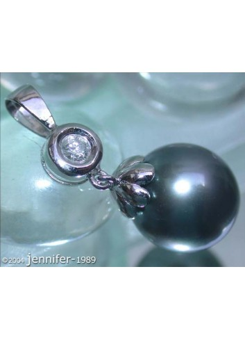 Pretty Tahitian Pearl Diamond Pendant