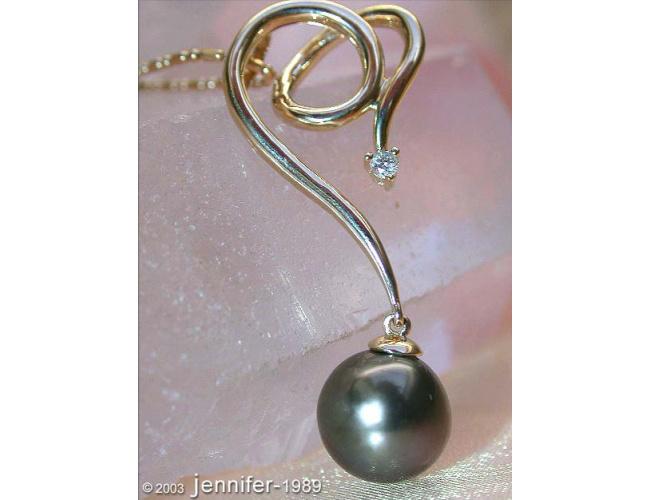Beautiful Tahitian Pearl Diamond Pendant