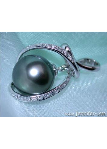 Delicate Tahitian Pearl Diamond Pendant