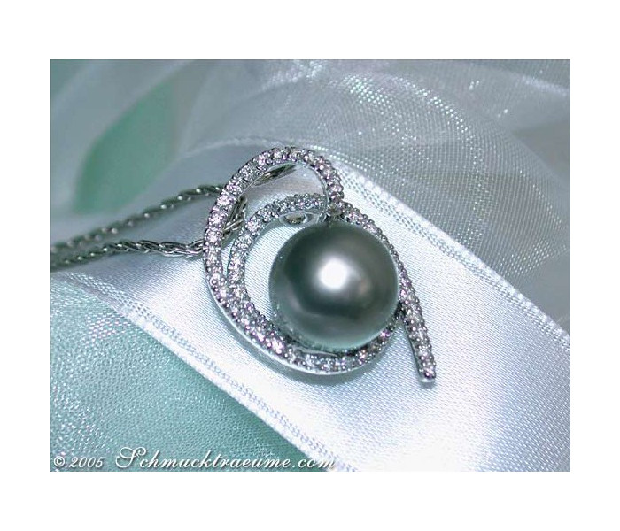 Playful Tahitian Pearl Pendant with Diamonds