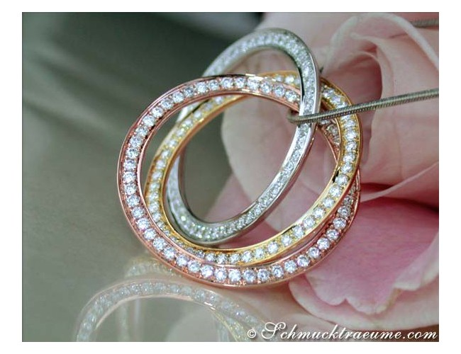 Amazing Entwined Diamond Circle Pendant