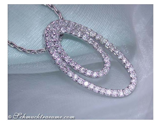 Diamonds pendant in the form of ellipses