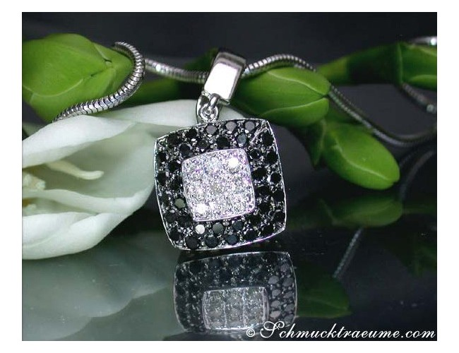 Puristic Black & White Diamond Square Pendant