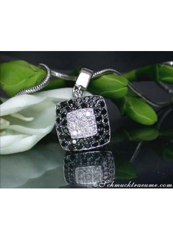 Puristic Black & White Diamond Square Pendant