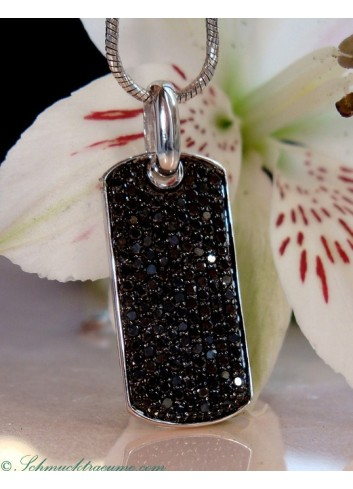 Minimalist Black Diamond Dog Tag Pendant