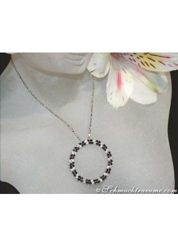 Circle pendant with black diamonds & diamonds
