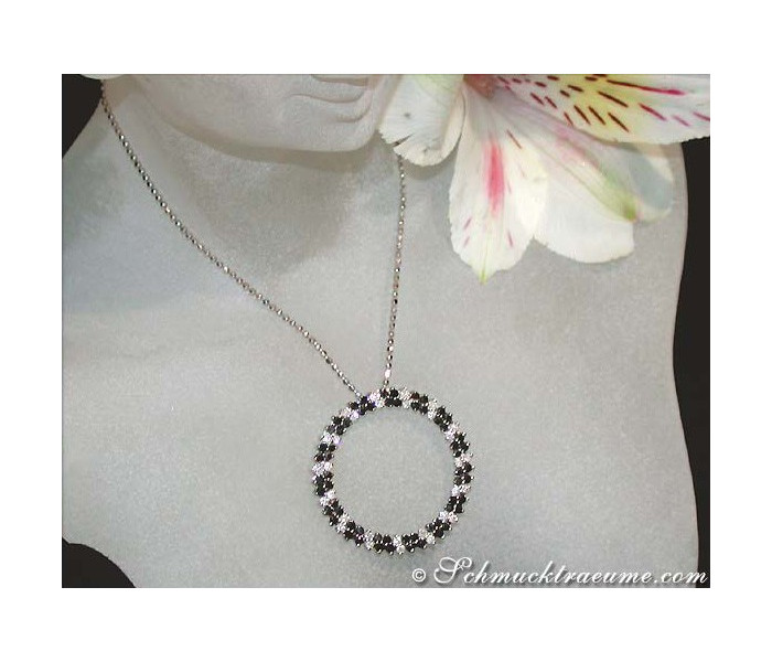 Pretty Circle Pendant with Black & White Diamonds