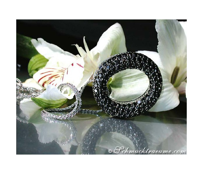 Precious Black Diamond Circle Pendant