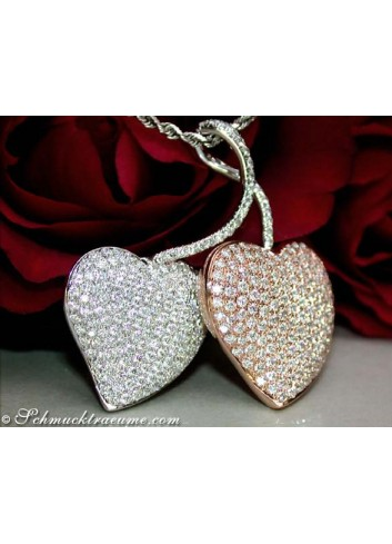 Exquisite Double Heart Diamond Pendant