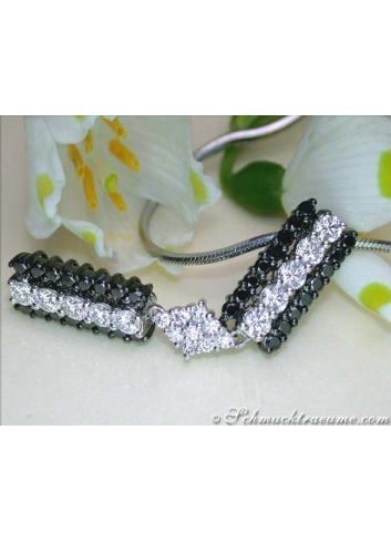 schwarze Diamanten Anhänger Weißgold 750