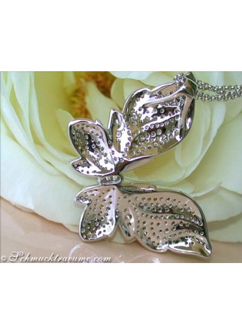 Magnificent Butterfly Pendant with Natural Brown & White Diamonds