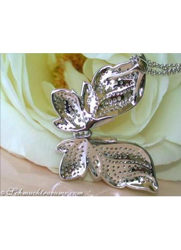Schmetterling Anhänger mit naturbraunen & weißen Brillanten