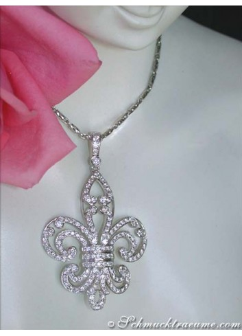 "Huge ""Fleur de Lis"" Style Diamond Pendant"