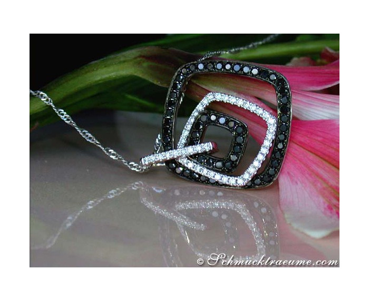 Sophisticated Black & White Diamond Pendant
