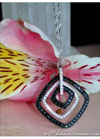 Sophisticated Black & White Diamond Pendant