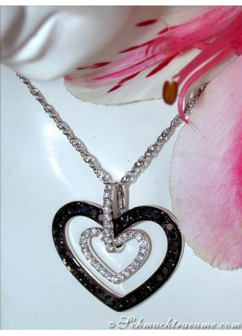 Pretty Black & White Diamond Heart Pendant