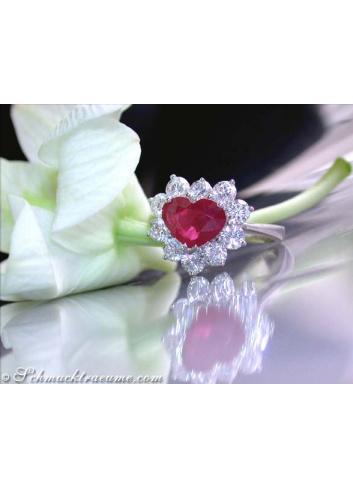 Noble Burma Ruby Diamond Heart Ring