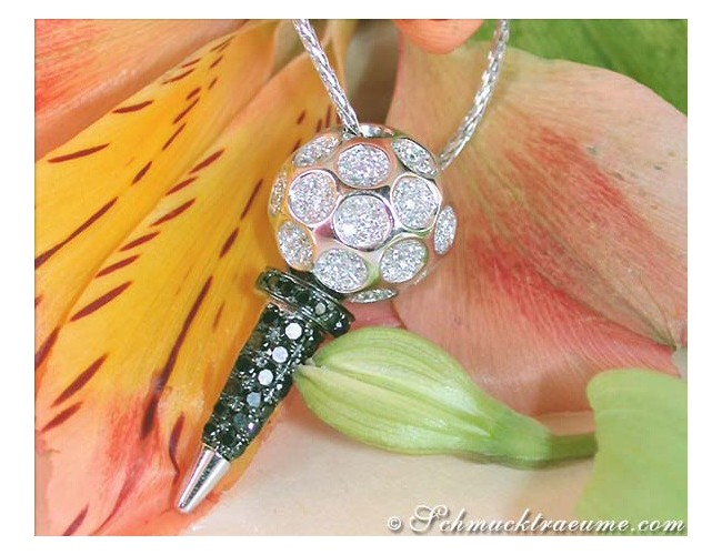 Golf Tee Pendant with Black & White Diamonds