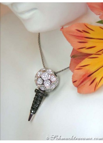 Unique Golf Tee Pendant with Black & White Diamonds