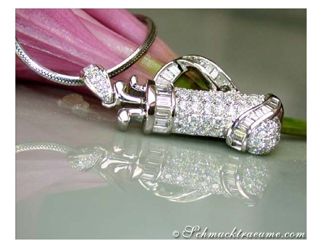 Exquisite Golf Bag Diamond Pendant in White gold 18k