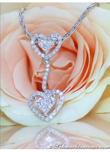 Feminine Princess Diamond Heart Pendant