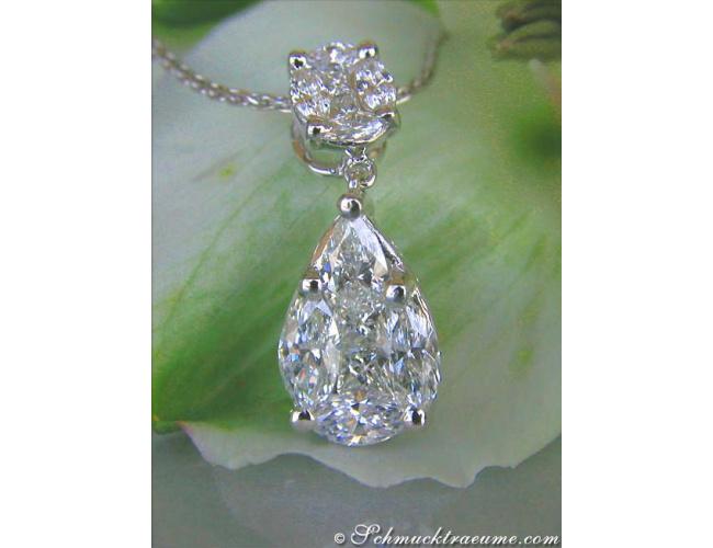 Diamant Tropfen Anhänger in Weißgold 750