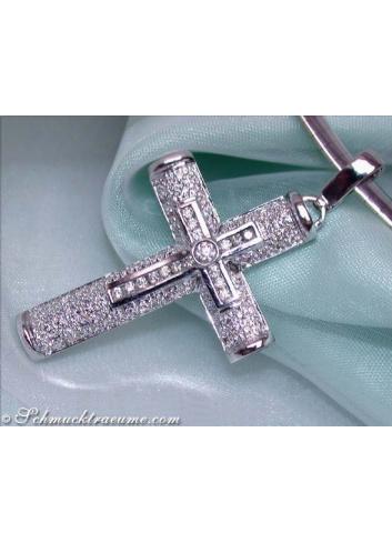 Edler Brillanten Kreuz in Kreuz Anhänger in Weißgold 750