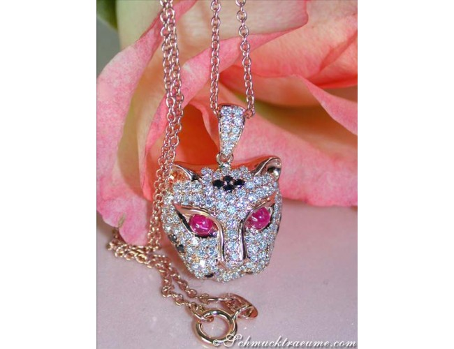 Fabulous Diamond Panther Pendant incl. Chain
