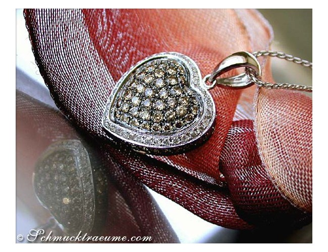 Timeless Natural Brown & White Diamond Heart Pendant