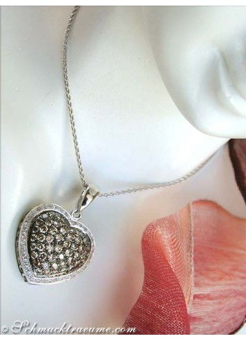Timeless Natural Brown & White Diamond Heart Pendant