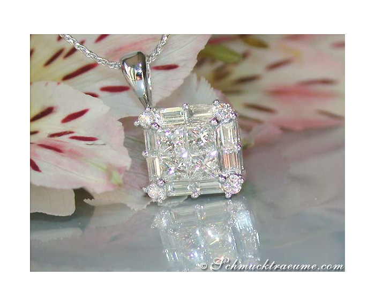 Diamanten Anhänger Princess Schliff Baguette Schliff