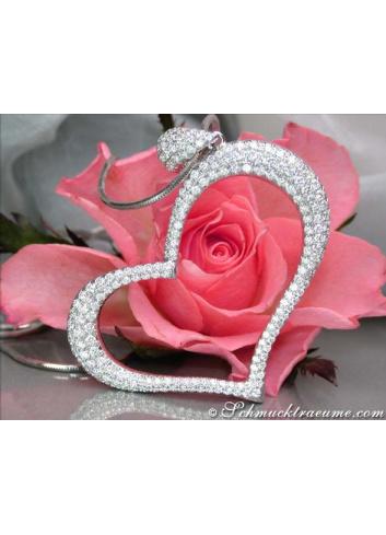 Diamanten Herz Anhänger in Weißgold 750