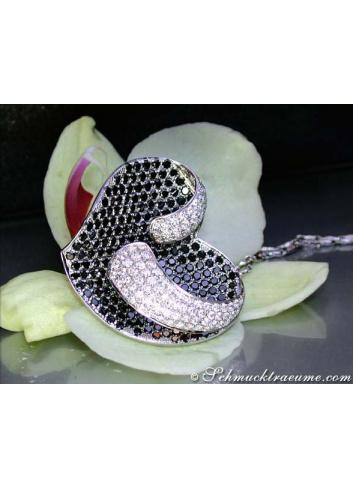 Herz Anhänger mit schwarzen Diamanten & Brillanten