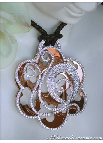 Opulent Diamond Pendant on Leather Cord