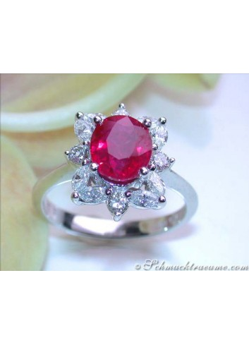 Exquisite Burma Ruby Ring with Diamonds