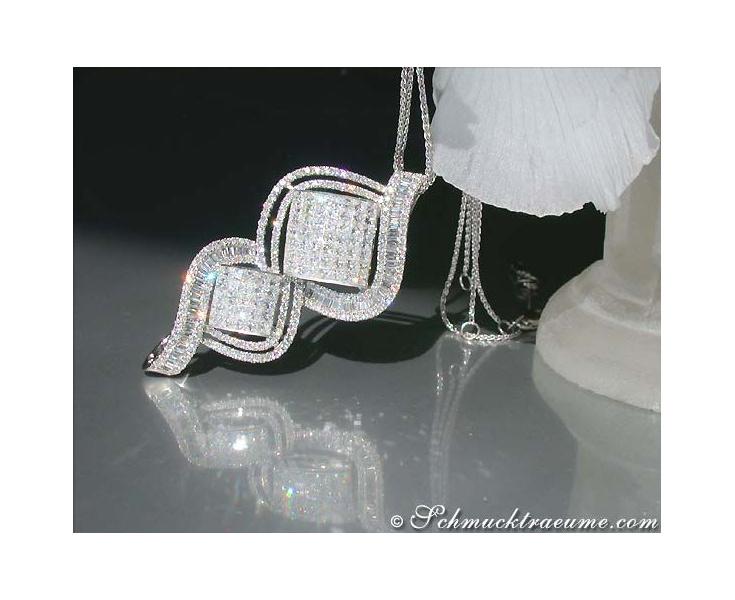 Magnificent Diamond Pendant (Princess, Baguette & Brilliant Cut)
