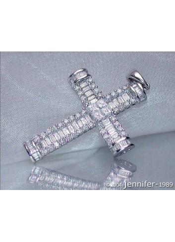 Diamanten Kreuz Anhänger in Weißgold 750